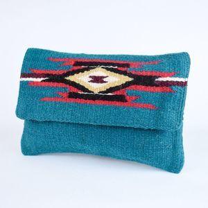 Southwest Boho Clutch Purse Chimayo Blue